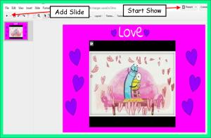 Add new slide or start show